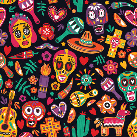Motley seamless pattern with traditional Mexican Dia de los Muertos decorations on black background. Holiday backdrop. Festive flat cartoon vector illustration for wrapping paper, fabric print