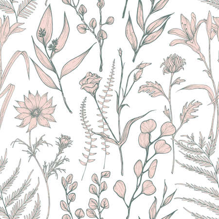 Monochrome seamless pattern with blooming wild flowers hand drawn on white background. Natural backdrop with elegant wildflowers. Botanical vector illustration for textile print, wrapping paper