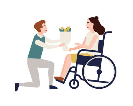 Smiling man giving bouquet of flowers to disabled woman sitting in wheelchair. Girl with physical disorder or impairment and her romantic partner. Colorful vector illustration in flat cartoon style