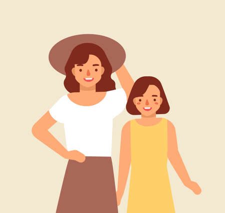 Portrait of smiling mother in hat and her daughter. Joyful adorable mom and child. Happy family. Cute funny cartoon characters. Parenting or parenthood. Colorful vector illustration in flat style