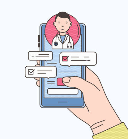 Hand holding smartphone with internet chat with doctor, therapist or physician on screen. Online medical advise or consultation service. Colorful vector illustration in modern line art style