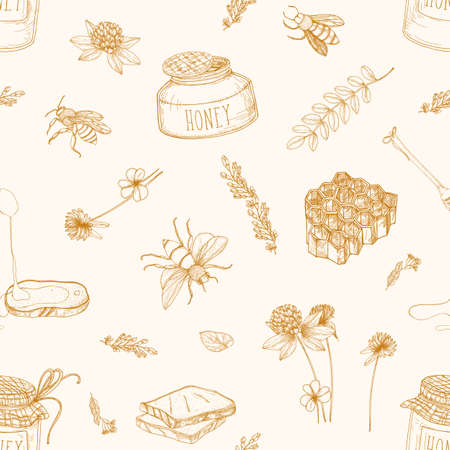 Monochrome seamless pattern with honey, bees, dipper, bread, honeycomb, clover, linden and acacia plants drawn with contour lines on light background. Elegant vector illustration in vintage style