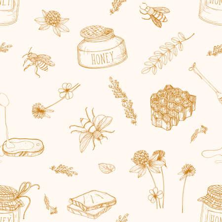 Monochromes nahtloses Muster mit Honig, Bienen, Schöpflöffel, Brot, Waben, Klee, Linden und Akazienpflanzen, die mit Konturlinien auf hellem Hintergrund gezeichnet sind. Elegante Vektorillustration im Vintage-Stil