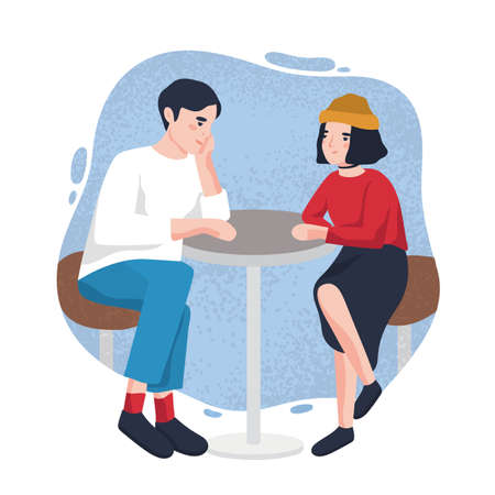 Cute young man and woman sitting at cafe table and looking at each other. Adorable modern couple on date at restaurant. Cartoon characters isolated on stain on background. Flat vector illustration