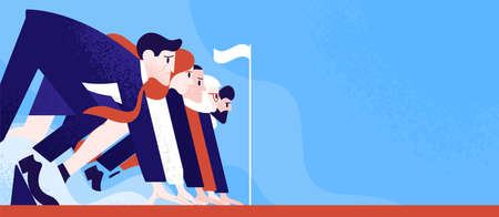 Office workers or clerks standing ready on start line before race or sprint. Business competition or rivalry between employees or colleagues. Colorful vector illustration in flat cartoon style Vektorové ilustrace