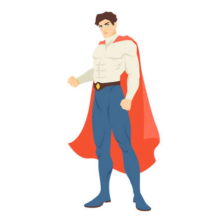 superhero. Handsome man with muscular body wearing bodysuit and cape standing in powerful posture. Brave and strong hero with super power. Vector illustration in flat cartoon style. Ilustração