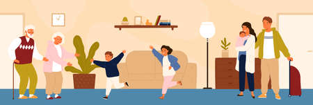 Joyful grandchildren meeting their grandparents. Happy family visiting grandfather and grandmother. Grandson and granddaughter running to hug grandma and granddad. Flat cartoon vector illustration