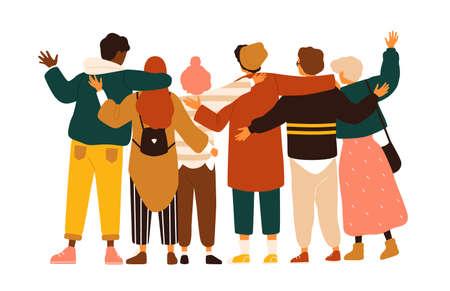 Widok z tyłu nastoletnich chłopców i dziewcząt lub szkolnych przyjaciół stojących razem, obejmujących się nawzajem, machających rękami. Grupa studentów lub uczniów na białym tle. Ilustracja wektorowa płaski kreskówka