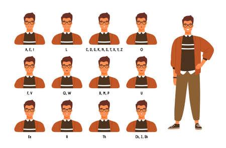 Raccolta di labbra o posizioni della bocca del personaggio maschile per vari suoni. Set di animazione di giovane uomo o ragazzo che parla o pronuncia lettere inglesi. Illustrazione vettoriale colorata in stile cartone animato piatto