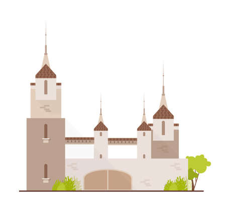 Gorgeous medieval castle, fairytale fortress, fantastic citadel or stronghold isolated on white background. Beautiful ancient historical building with spires. Flat cartoon vector illustration. Stock Vector - 116682271