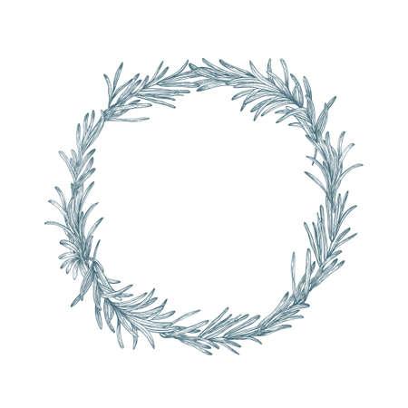 Kreisförmige Dekoration oder Kranz aus Rosmarin handgezeichnet mit Konturlinien auf weißem Hintergrund. Dekorativer Rahmen bestand aus aromatischem Küchenkraut oder Gewürz. Botanische Vektorillustration Vektorgrafik