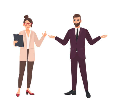 Angry female boss and male employee making excuses isolated on white background. Furious chief or director criticizing office worker. Conflict at work. Flat cartoon colorful vector illustration