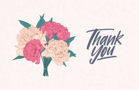 Modello di nota di ringraziamento decorato con bouquet di splendide peonie in fiore. Carta o cartolina con un mazzo di bellissimi fiori da giardino. Illustrazione vettoriale botanica colorata in elegante stile vintage
