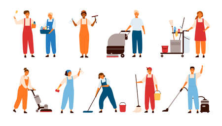 Set of smiling male and female cleaning service workers, home cleaners or housekeepers with floor polishing machines, mops, wipers isolated on white background. Flat cartoon vector illustration