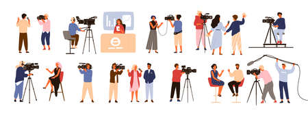 Collection of journalists, talk show hosts interviewing people, news presenters and cameramen or videographers with cameras isolated on white background. Vector illustration in flat cartoon style Ilustracje wektorowe