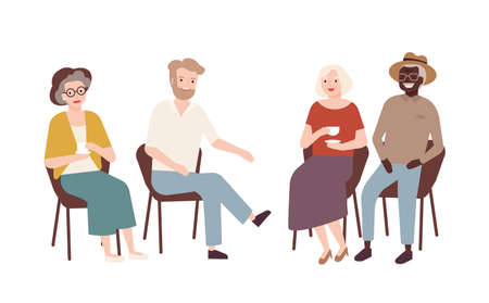 Group of elderly men and women sitting on chairs, drinking tea, talking to each other and laughing. Old retired people spending time together. Colorful vector illustration in flat cartoon style Illustration