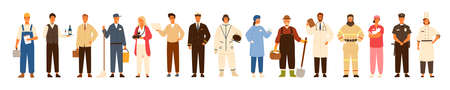 Collection of men and women of various occupations or profession wearing professional uniform - construction worker, farmer, physician, waiter, cleaner, astronaut. Flat cartoon vector illustration