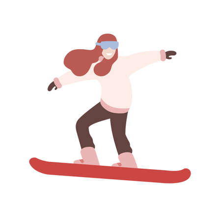 Smiling girl in snowsuit snowboarding. Female snowboarder performing trick. Winter extreme sports and outdoor activity. Cute cartoon character isolated on white background. Flat vector illustration
