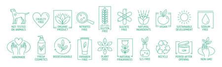 Kolekcja symboli liniowych lub odznak dla naturalnych, ekologicznych ręcznie robionych produktów, kosmetyków organicznych, wegańskich i wegetariańskich na białym tle. Ilustracja wektorowa w stylu sztuki linii