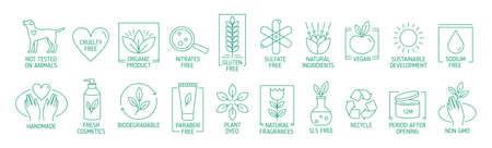 Collection of linear symbols or badges for natural eco friendly handmade products, organic cosmetics, vegan and vegetarian food isolated on white background. Vector illustration in line art style