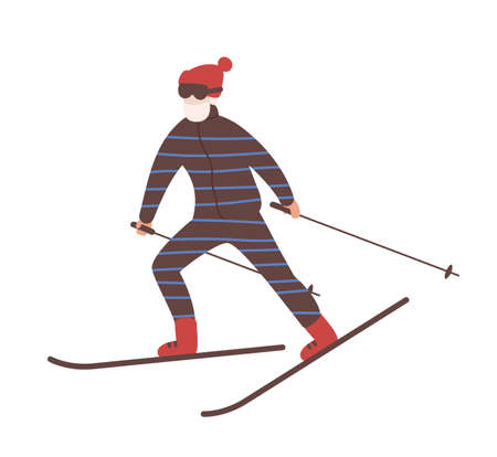Young man in snow suit skiing. Guy on skis or freerider. Winter sports and recreational activity. Cute male cartoon character isolated on white background. Colored vector illustration in flat style