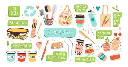 Kollektion von Zero Waste langlebigen und wiederverwendbaren Artikeln oder Produkten - Gläser, Öko-Einkaufstaschen, Holzbesteck, Kamm, Zahnbürste und Bürsten, Menstruationstasse, Thermobecher. Flache Vektorillustration Vektorgrafik