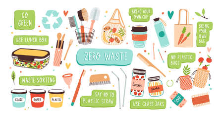 Collection of Zero Waste durable and reusable items or products - glass jars, eco grocery bags, wooden cutlery, comb, toothbrush and brushes, menstrual cup, thermo mug. Flat vector illustration