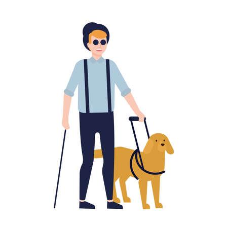 Cieco e cane guida isolati su sfondo bianco. Ragazzo con cecità, disabilità visiva o perdita della vista e animale di servizio o assistenza. Illustrazione vettoriale colorato in stile cartone animato piatto Vettoriali