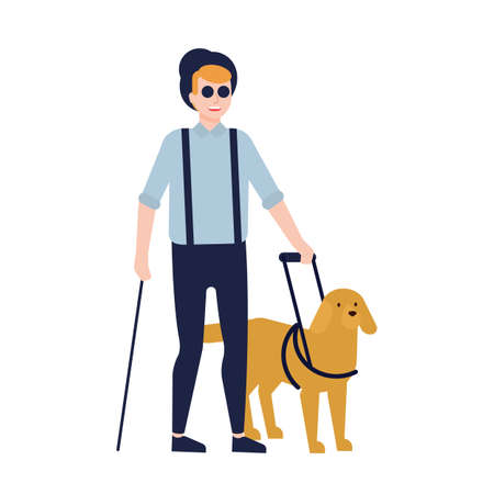 Hombre ciego y perro guía aislado sobre fondo blanco. Chico con ceguera, deficiencia visual o pérdida de visión y animal de servicio o asistencia. Ilustración de vector colorido en estilo de dibujos animados plana Ilustración de vector