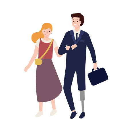 Man in suit with artificial limb walking with his girlfriend, wife or friend. Male character with leg prosthesis with romantic partner on date. Colorful vector illustration in flat cartoon style