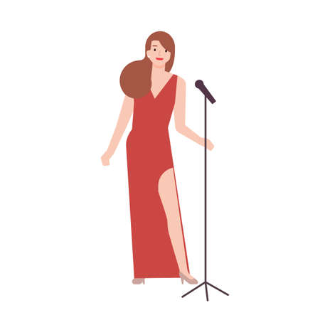Professional jazz singer, vocalist or songstress wearing elegant red evening dress and holding microphone stand. Female cartoon character isolated on white background. Flat vector illustration