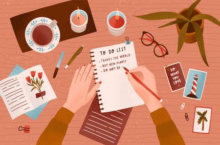 Le mani della donna che tengono la penna e annotano gli obiettivi da raggiungere nel blocco note o fanno la lista delle cose da fare. Vista dall'alto. Efficace pianificazione e organizzazione personale. Illustrazione vettoriale colorato in stile cartone animato piatto. Vettoriali
