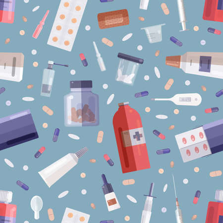 Seamless pattern with pharmaceutical drugs or medications in bottles, jars, tubes, blisters and medical tools on blue background. Flat cartoon colored vector illustration for textile print, wallpaper