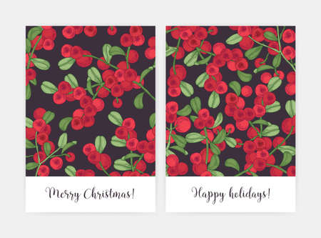 Set of greeting card or postcard templates decorated with lingonberry sprigs hand drawn on black background. Bundle of holiday flyers with ripe boreal berries and leaves. Natural vector illustration Vetores
