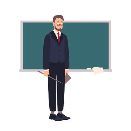 Disappointed school teacher or university professor standing beside chalkboard and looking at audience. Shocked lecturer with pointer isolated on white background. Flat cartoon vector illustration
