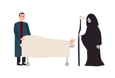 Sad or sorrowful man Grim Reaper with scythe standing near covered dead body lying on gurney. Grieving relative and Death near deceased family member. Vector illustration in flat cartoon style Illustration