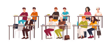 Group of pupils sitting at desks in classroom, demonstrating good behavior and attentively listening to lesson or lecture. Obedient teenage children or students. Flat cartoon vector illustration