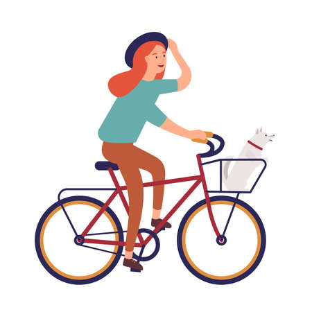 Young woman dressed in casual clothes riding bike. Cute hipster girl on bicycle with dog sitting in basket. Pedaling female bicyclist isolated on white background. Flat cartoon vector illustration