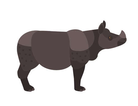 Adorable rhino or rhinoceros isolated on white background. Cute wild exotic herbivorous animal with horn. Endangered species of Africa. Side view. Colorful vector illustration in flat cartoon style.
