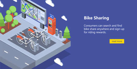 Web banner with bicycles available for rent parked at docking stations on city street, payment terminals, map stand. Isometric vector illustration for public bike sharing service advertisement.