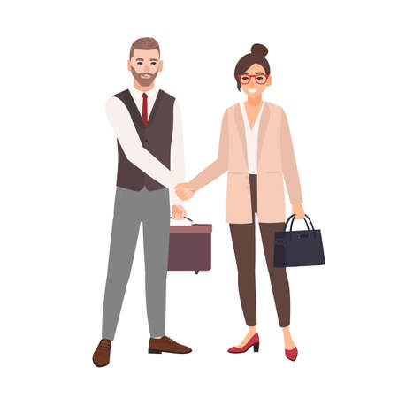Male and female business partners, employees or office workers shaking hands. Professional cooperation between colleagues, partnership, agreement. Colorful vector illustration in flat cartoon style Ilustração