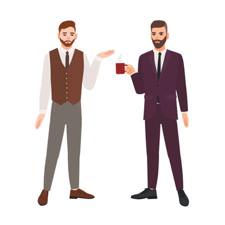 Pair of bearded men dressed in business clothes or male office workers talking and drinking coffee. Dialog between colleagues, professional conversation at work. Flat cartoon vector illustration