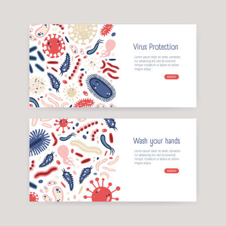 Bundle of web banner templates with harmful single cell microorganisms on white background and place for text. Bacteria and virus protection awareness. Vector illustration in flat cartoon style Standard-Bild - 115961964