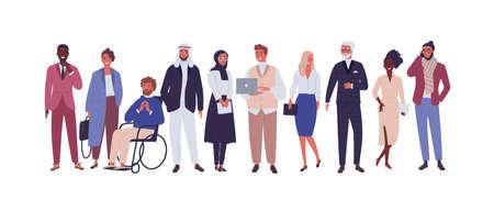 Grupo diverso de gente de negocios, empresarios u oficinistas aislados sobre fondo blanco. Compañía multinacional. Hombres y mujeres viejos y jóvenes de pie juntos. Ilustración de vector de dibujos animados plana