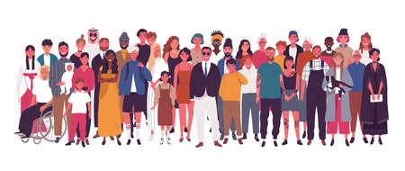 Zróżnicowana wielorasowa i wielokulturowa grupa ludzi na białym tle. Szczęśliwi starzy i młodzi mężczyźni, kobiety i dzieci stojące razem. Różnorodność społeczna. Ilustracja wektorowa płaski kreskówka