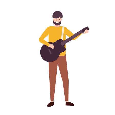 Bearded man playing guitar and singing. Male musician, singer or guitarist performing song on stage. Songster or musical performer isolated on white background. Flat cartoon vector illustration Vetores