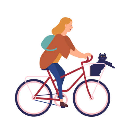 Pretty young woman dressed in casual clothes riding bike with cat sitting in basket. Cute girl on bicycle with her pet animal. Happy pedaling female bicyclist. Flat cartoon vector illustration Illustration