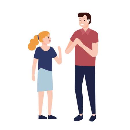 Hombre sordo sonriente que muestra signos a la niña. Comunicación con personas con sordera o discapacidad auditiva. Personajes de dibujos animados lindos aislados sobre fondo blanco. Ilustración de vector plano.