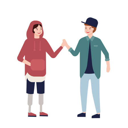 Cute teenage boy with prosthetic legs giving high five to her friend. Funny joyful child with artificial limbs and her mate. Inclusion of disabled people or kids. Flat cartoon vector illustration