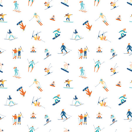 Seamless pattern with adults and children in winter snow suits snowboarding and skiing. Backdrop with male and female cartoon ski and snowboard riders. Flat cartoon vector illustration for wallpaper
